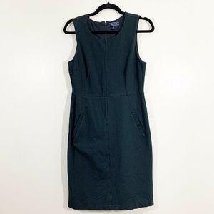 Lands End Black Ponte Stretch Knit Sheath Dress 8